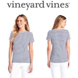 Vineyard Vines Striped Crew Neck Simple Tee